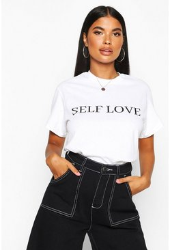 Womens White Petite 'Self Love' Slogan T-Shirt
