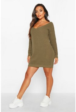 Womens Olive Petite V-Neck Jumper Mini Dress