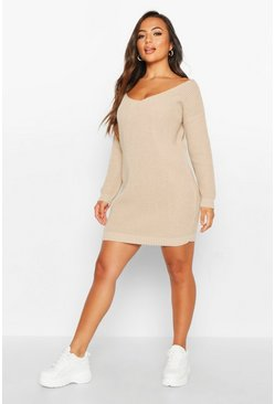 Womens Stone Petite V-Neck Jumper Mini Dress