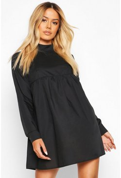 Black Petite High Neck Long Sleeve Smock Dress