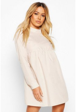 Womens Stone Petite High Neck Long Sleeve Smock Dress