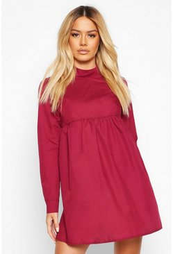 Wine Petite High Neck Long Sleeve Smock Dress