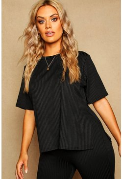 Black Plus Oversized Side Split Ribbed Tee
