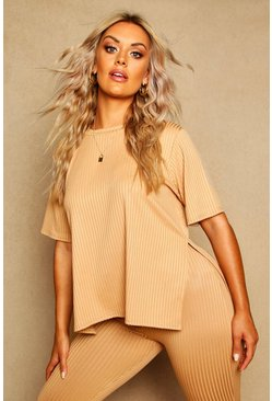 Butterscotch Plus Oversized Side Split Ribbed Tee