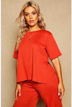 T-shirt oversize Plus a coste con spacchi laterali, Paprika, Femmina