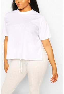 White Plus Oversized Side Split Ribbed Tee