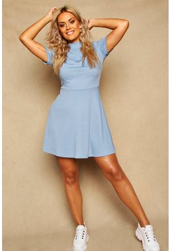 Womens Slate Plus Ribbed Hem Neck Skater Dress