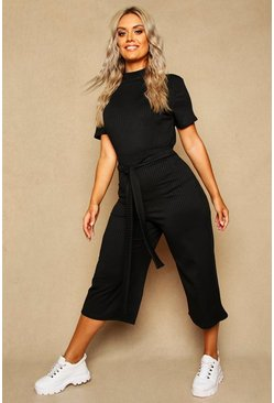 Womens Black Plus Wide Leg Ribbed Culotte