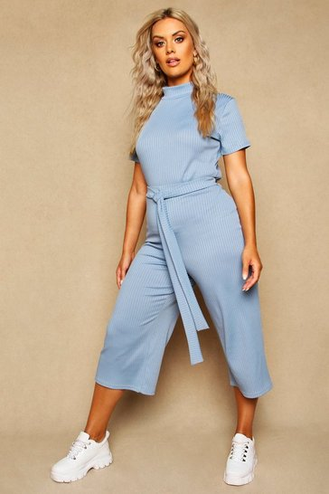 Womens Slate Plus Wide Leg Ribbed Culotte