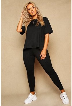 Womens Black Plus Ribbed Stretch Leggings