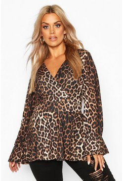 Womens Brown Plus Leopard Print Flare Sleeve Wrap Peplum Top