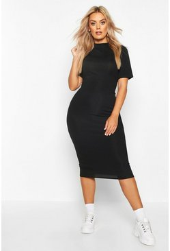 Black Plus Rib High Neck Bodycon Dress