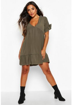 Womens Khaki Petite Ruffle Detail V-Neck Smock Dress