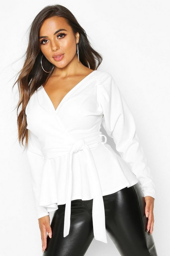 Petite Crepe Ruched Puff Sleeve Wrap Top