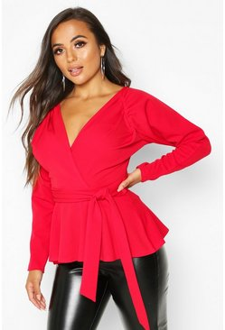 Womens Red Petite Crepe Ruched Puff Sleeve Wrap Top