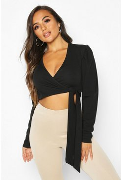 Womens Black Petite Ruched Sleeve Detail Wrap Top