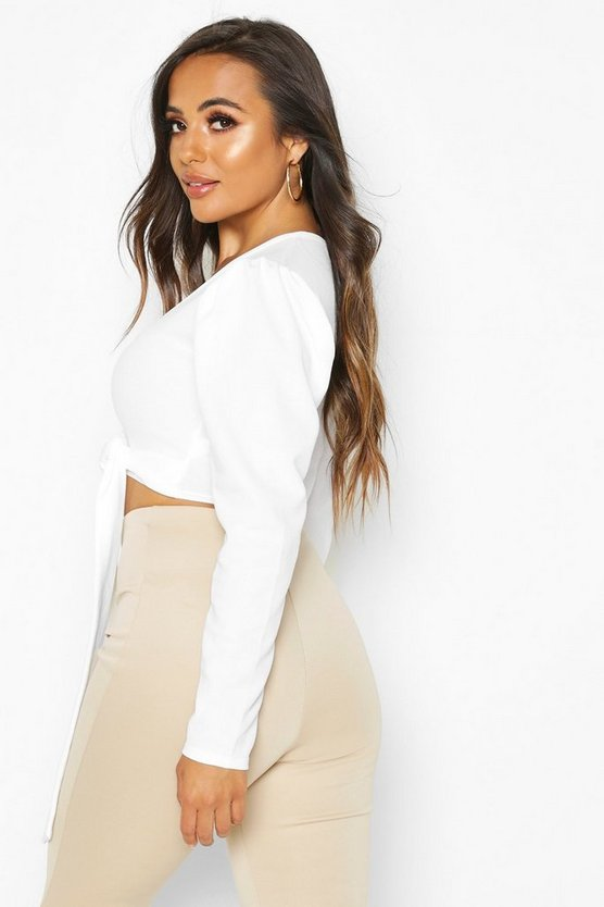 Petite Ruched Sleeve Detail Wrap Top