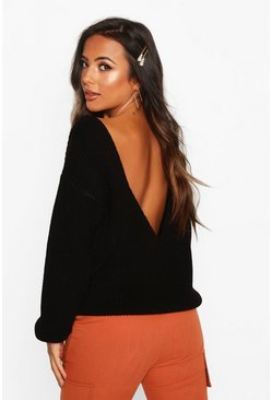 Womens Black Petite V-Back Oversized Jumper