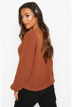 Womens Toffee Petite V-Back Oversized Jumper