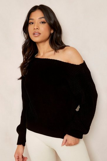 Black Petite Slash Neck Crop Fisherman Jumper