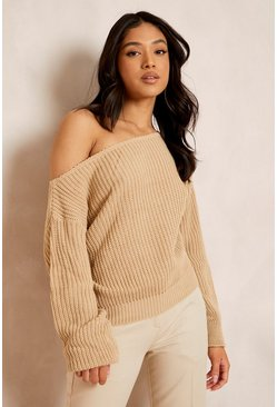 Womens Stone Petite Slash Neck Crop Fisherman Jumper