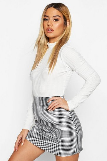 Womens Black Petite Dogtooth Check A-Line Mini Skirt
