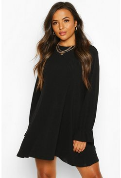 Womens Black Petite Soft Rib Swing Dress