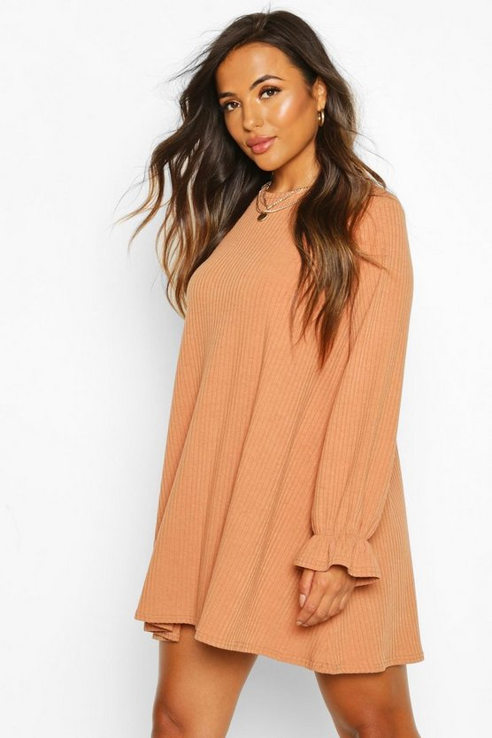 Womens Camel Petite Soft Rib Swing Dress
