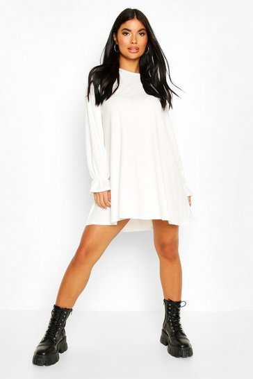 Ivory Petite Soft Rib Swing Dress