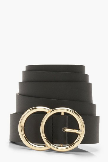 Womens Black Plus Gold O Ring Boyfriend Belt