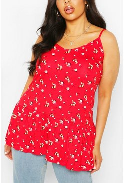 Red Plus Floral Ruffle Strappy Tunic Top
