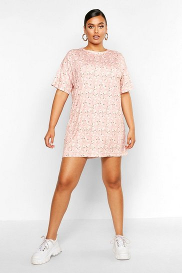 Womens Pink Plus Floral Ditsy T-Shirt Dress