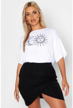 Womens White Plus Sun And Moon Print Short Sleeve T-Shirt