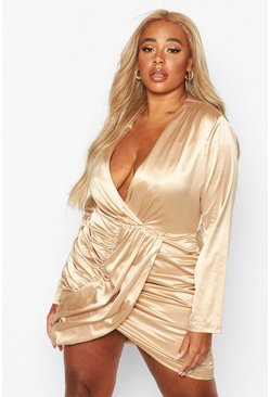 Womens Taupe Plus Draped Wrap Satin Dress