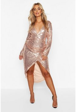 Dam Gold Plus Sequin Ruched Wrap Midi Dress