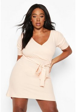 Womens Nude Plus Puff Sleeve Wrap Dress