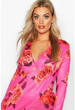 Womens Hot pink Plus Floral Print Wrap Ruched Mini Dress