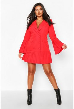 Womens Red Plus Pleated Hem & Sleeve Blazer Dress