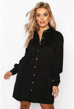 Black Plus Babycord Shirt Dress