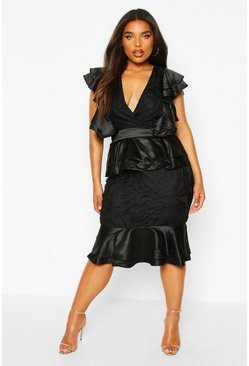 Womens Black Plus Extreme Ruffle Lace Peplum Midi Dress