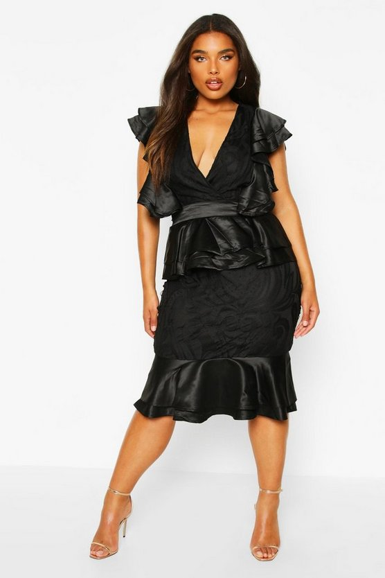 Plus Extreme Ruffle Lace Peplum Midi Dress