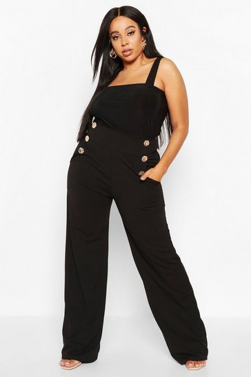 Womens Black Plus High Waisted Gold Button Tailored Trouser