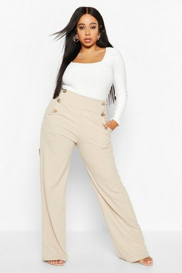 Womens Stone Plus High Waisted Gold Button Tailored Trouser