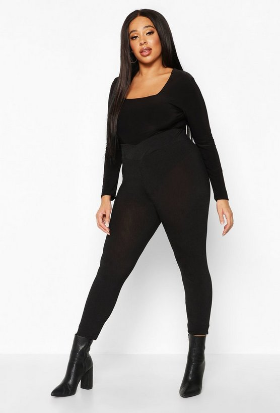 Womens Black Plus Ribbed Sculpted Legging