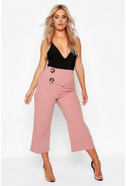 Rose Plus Tortoiseshell Wrap Belted Culottes