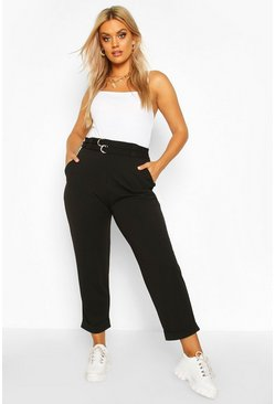 Black Plus High Waisted Belted Cargo Trouser