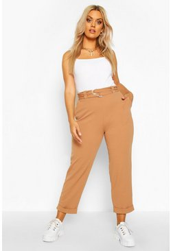 Womens Camel Plus High Waisted Belted Cargo Trouser