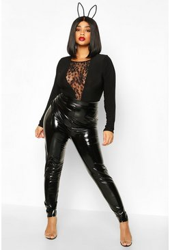 Womens Black Plus High Shine Sculpt Leggings