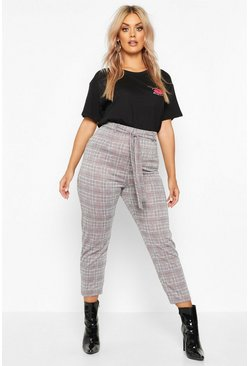 Womens Grey Plus Check Belted Tailored Trousers