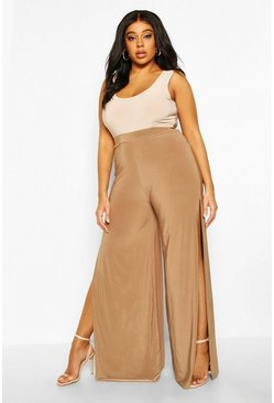 Womens Camel Plus Slinky Palazzo Split Trousers